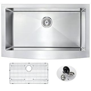 ANZZI ELYSIAN Farmhouse Stainless Steel 32-inch 0-Hole Single Bowl Kitchen Sink