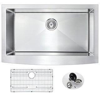 ANZZI ELYSIAN Farmhouse Stainless Steel 32-inch 0-Hole Single Bowl Kitchen Sink