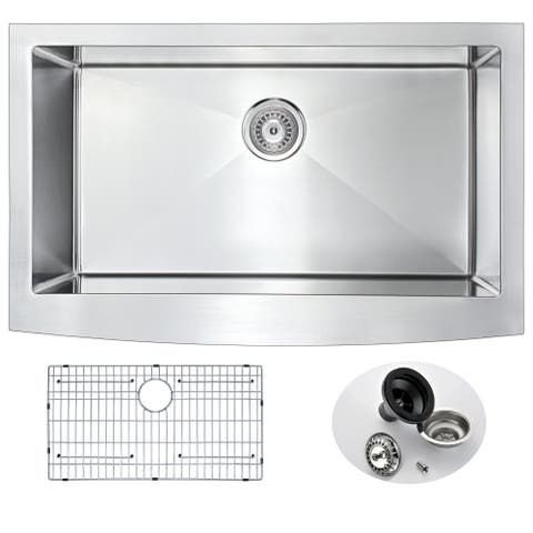 ANZZI Elysian Farmhouse Stainless Steel 36-inch Single Bowl Kitchen Sink