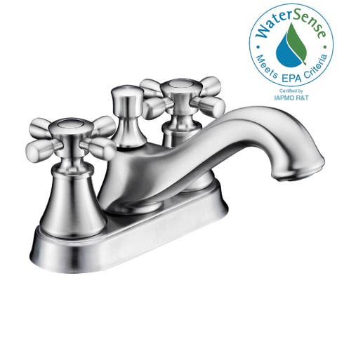 ANZZI Major Series 4-inch Centerset 2-handle Mid-arc Bathroom Faucet in Brushed Nickel