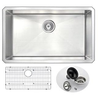 ANZZI VANGUARD Series 30 in. Under Mount Single Basin Handmade Stainless Steel Kitchen Sink