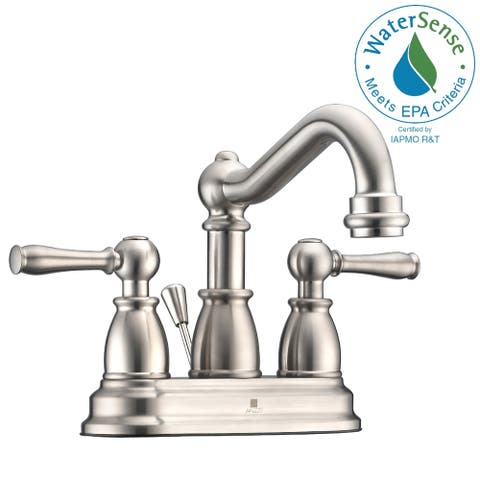 ANZZI Edge 4-inch Centerset 2-handle Mid-arc Bathroom Faucet in Brushed Nickel