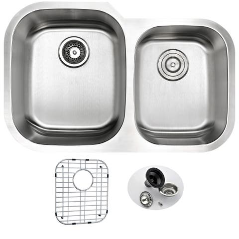 ANZZI MOORE 32-inch Under Mount 60/40 Dual Basin Stainless Steel Kitchen Sink