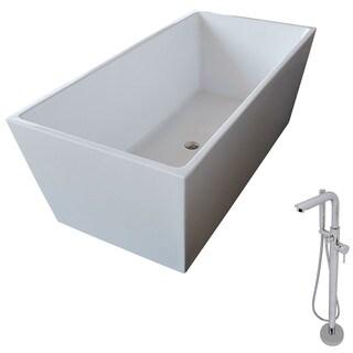 Anzzi Fjord White Acrylic Standalone Soak Tub w/ Chrome Sens Faucet (5.6 ft.)