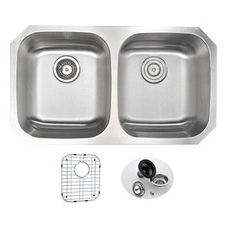 ANZZI MOORE Series 32 in. Under Mount 50/50 Dual Basin Stainless Steel Kitchen Sink
