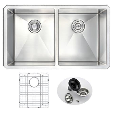 ANZZI VANGUARD Series 32 in. Under Mount 50/50 Dual Basin Handmade Stainless Steel Kitchen Sink