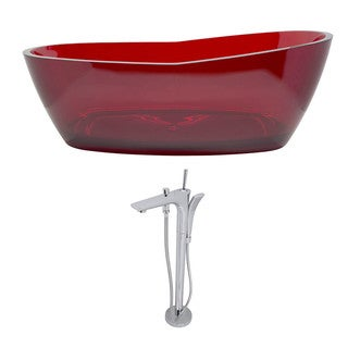 Anzzi Ember 5.4-foot Man-made Stone Slipper Freestanding Soaker Bathtub in Deep Red with Kase Faucet in Chrome