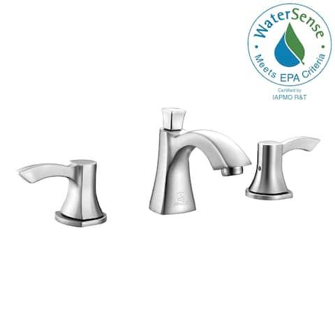 ANZZI Sonata Series 8-inch Widespread 2-handle Mid-arc Bathroom Faucet in Brushed Nickel