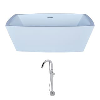 Anzzi Arthur 5.6-foot Acrylic Classic Freestanding Soaker Bathtub in White with Kros Faucet in Chrome