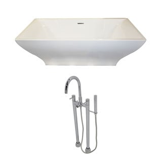 Anzzi Vision 5.9-foot Acrylic Double Slipper Freestanding Soaker Bathtub in White with Sol Faucet in Chrome