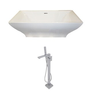 Anzzi Vision 5.9-foot Acrylic Double Slipper Freestanding Soaker Bathtub in White with Dawn Faucet in Chrome