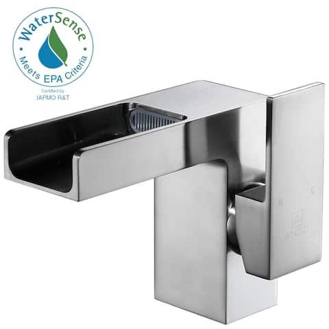 ANZZI Zhona Single Hole Single-handle Low-arc Bathroom Faucet in Brushed Nickel