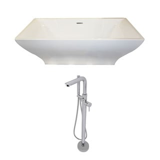 Anzzi Vision 5.9-foot Acrylic Double Slipper Freestanding Soaking Bathtub in White and Sens Faucet in Chrome