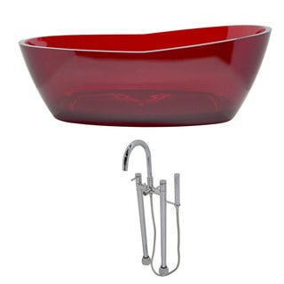 Anzzi Ember 5.4-foot Man-made Stone Classic Soaking Bathtub in Deep Red with Sol Freestanding Faucet in Chrome