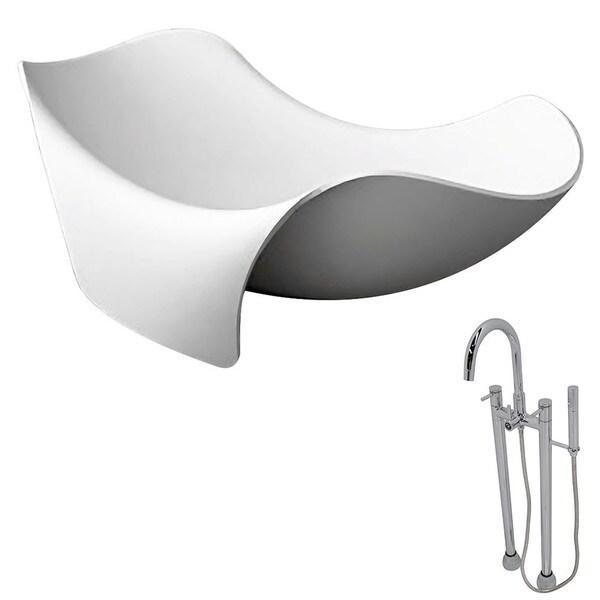 Anzzi Cielo Matte White, Faux Stone Soak Tub w/ Chrome Sol Faucet ...
