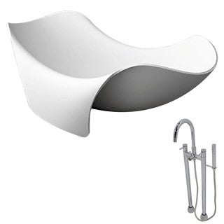 Anzzi Cielo Matte White, Faux Stone Soak Tub w/ Chrome Sol Faucet (6.5 ft.)