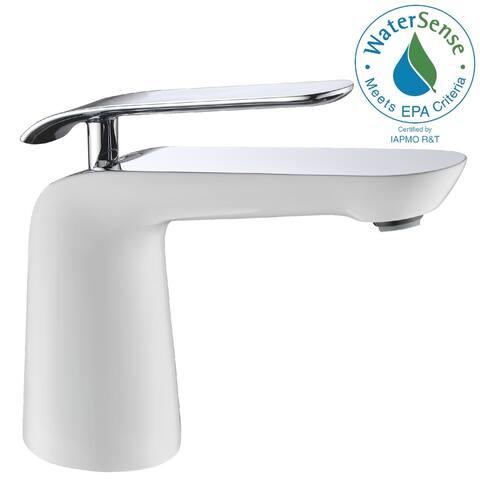 ANZZI Etude Series Single Hole Single-handle Low-arc White and Chrome Bathroom Faucet