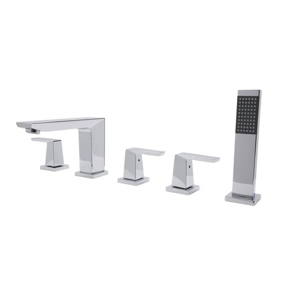 roman tub faucet with sprayer. ANZZI Mint Series 3 Handle Deck Mounted Roman Tub Faucet With Handheld  Sprayer In Polished