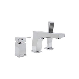 ANZZI Fyne Series Single-handle Deck-mount Roman Tub Faucet with Handheld Sprayer in Polished Chrome