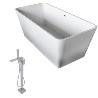 Anzzi Cenere 4.9-foot Man-made Stone Classic Soaking Bathtub in Matte White with Dawn Faucet in Chrome