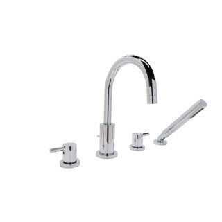 ANZZI Lien Series 2-handle Lever Deck-mount Roman Tub Faucet with Handheld Sprayer in Polished Chrome