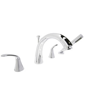 ANZZI Fawn Series 2-handle Deck-mount Roman Tub Faucet with Handheld Sprayer in Polished Chrome