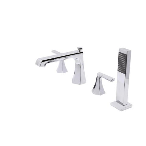 ANZZI Shine Series 2-handle Deck-mount Roman Tub Faucet with Handheld Sprayer in Polished Chrome
