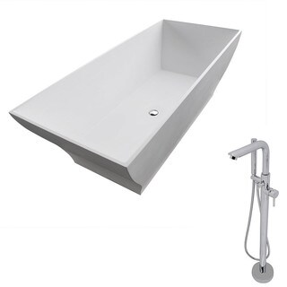 Anzzi Crema 5.9-foot Man-made Stone Classic Soaking Bathtub in Matte White with Sens Faucet in Chrome