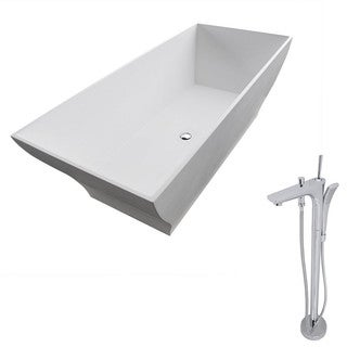 Anzzi Crema 5.9-foot Man-made Stone Classic Soaking Bathtub in Matte White with Kase Faucet in Chrome