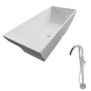Anzzi Crema 5.9-foot Man-made Stone Classic Soaking Bathtub in Matte White with Kros Faucet in Chrome
