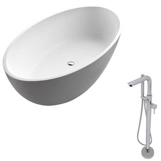 Anzzi Cestino 5.5-foot Man-made Stone Classic Soaking Bathtub in Matte White with Sens Faucet in Chrome