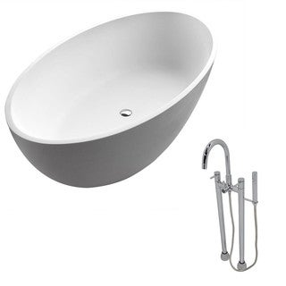 Anzzi Cestino 5.5-foot Man-made Stone Classic Soaking Bathtub in Matte White with Sol Faucet in Chrome