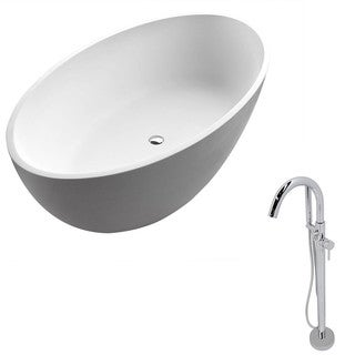 Anzzi Cestino 5.5-foot Man-made Stone Classic Soaking Bathtub in Matte White with Kros Faucet in Chrome