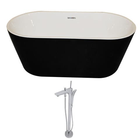 ANZZI Dualita 5.4 ft. Acrylic Classic Freestanding Flatbottom Non-Whirlpool Bathtub in Black and Kase Faucet in Chrome