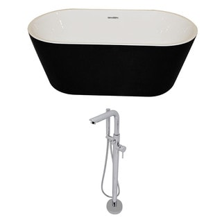 ANZZI Dualita 5.8 ft. Acrylic Classic Freestanding Flatbottom Non-Whirlpool Bathtub in Black and Sens Faucet in Chrome