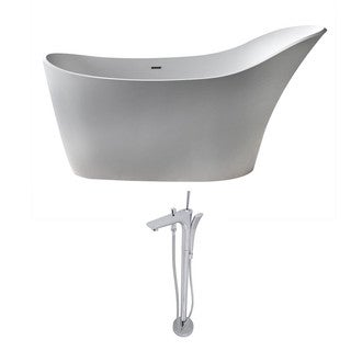 ANZZI Alto 5.6 ft. Man-Made Stone Slipper Flatbottom Non-Whirlpool Bathtub in Matte White and Kase Faucet in Chrome