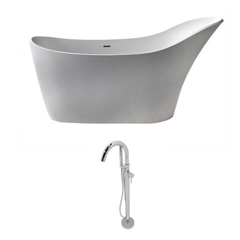 ANZZI Alto 5.6 ft. Man-Made Stone Slipper Flatbottom Non-Whirlpool Bathtub in Matte White and Kros Faucet in Chrome