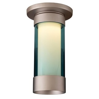 Bruck Lighting Silvertone/Turquoise Chome/Glass Ceiling Mount Fixture