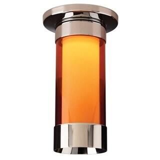 Bruck Lighting Silva Chrome/Orange Glass Shade 1-LED Ceiling-mount Light Fixture