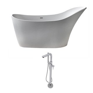 ANZZI Alto 5.6 ft. Man-Made Stone Slipper Flatbottom Non-Whirlpool Bathtub in Matte White and Sens Faucet in Chrome