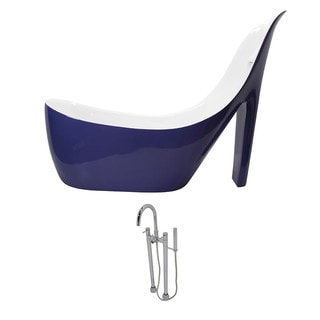 ANZZI Gala 6.7 ft. Acrylic Slipper Freestanding Flatbottom Non-Whirlpool Bathtub in Violet and Sol Faucet in Chrome