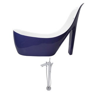 ANZZI Gala 6.7 ft. Acrylic Slipper Freestanding Flatbottom Non-Whirlpool Bathtub in Violet and Kase Faucet in Chrome