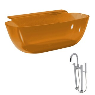 ANZZI Vida 5.2 ft. Man-Made Stone Classic Flatbottom Non-Whirlpool Bathtub in Honey Amber and Sol Faucet in Chrome