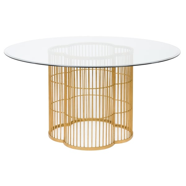 gold glass dining table rose gold safavieh couture high line collection noore gold leaf glass dining table shop