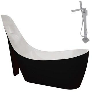 Anzzi Gala 6.7-foot Acrylic Slipper Soaking Bathtub in Stellar Black with Dawn Faucet in Chrome