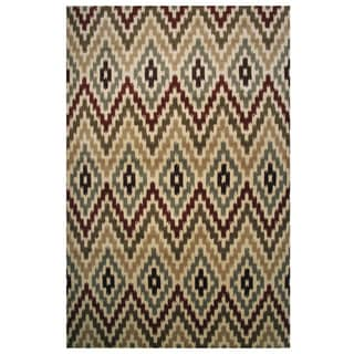 Velvet Collection Cream Tribal Diamond Print Rug, 8 ft. x 11 ft.