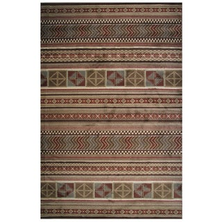 Velvet Collection Red Mixed Prints Striped Rug, 5 ft. x 8 ft.