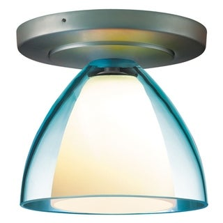 Bruck Lighting Rainbow 2 1-LED Matte Chrome Ceiling Mount with Turquoise Glass Shade