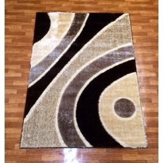 Machine-made Gloria Shaggy 1032 Brown Polypropylene Area Rug (3' x 8')