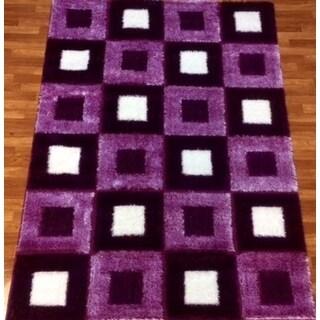 Gloria Shaggy Purple Polypropylene Machine-made Area Rug (3' x 8')